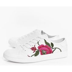 Boohoo Amy Floral Embroidered Lace Up Trainer (59 BRL) ❤ liked on Polyvore featuring shoes, sneakers, lace up sneakers, floral sneakers, boohoo shoes, block-heel shoes and lace up shoes