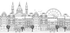 Budapest, Hungary - Seamless banner of the city¡¯s skyline, hand drawn black and white illustration , Banner, Skyline, Sketch Pad, City Illustration, Black And White Illustration, Ravenna, Vintage Greeting Cards, Travel Aesthetic, New Pictures