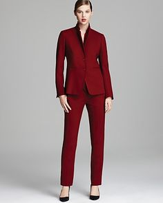 Max Mara - rich oxblood suit - professional fashion | office style
