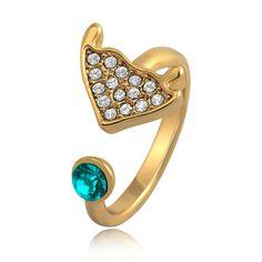 [$26.00] Bohemian Bubble Fish Blue Rhinestone Pinky Ring Adjustable - Free Shipping