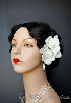 Bridal Hair Flowers Gardenias Retro Pinup by MikiyeCreations