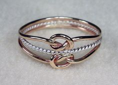 Double Mini Celtic Love Knot Ring with 14kt Gold Filled and Twisty in Argentium Silver