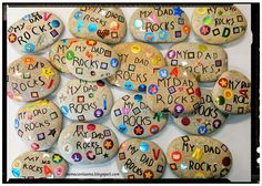 ¿La eme con la a? ¡Ma! Some stones + some stickers + permanent marker = nice, cheap, easy paperweights. Because... dad rocks!!!