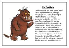 What A Good One Looks Like (WAGOLL) A character description of the Gruffalo with similes, adjectives and verbs. This is used on display to show the childre. Talk 4 Writing, Kids Writing, Creative Writing, Writing A Book, Writing Ideas, Character Description Examples, Description Writing, Product Description, Gruffalo Characters