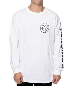 Update your wardrobe with a stylish long sleeve white colorway with an Odd Future donut logo graphic on the chest and black OFWGKTA text on the left sleeve.