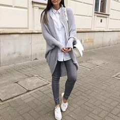 Long cardigan + grey + shirt