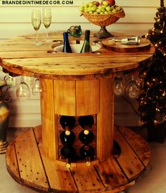 Get inspired to build this wine table made out of a cable spool