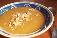 Curried Butternut Squash Soup (stock, butternut, apple, bay, nutmeg, curry, honey, cloves, cream cheese)