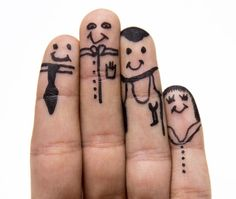 Family of fingers in their Sunday best. | 21 Finger Faces That Are Strangely Heartwarming