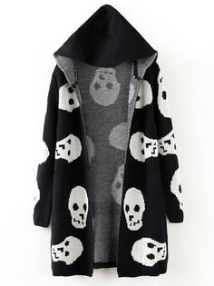 Black Hooded Long Sleeve Skull Pattern Cardigan Sweater
