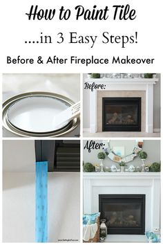 How to Paint Tile - Fireplace Easy Paint Makeover. I'll show you how I did it in just 3 steps and no sanding! It was so easy!