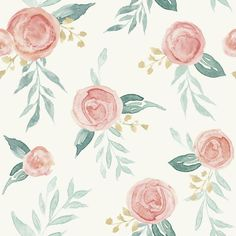 Magnolia Home Watercolor Roses Sure Strip Wallpaper Double Roll - Double Roll / Red Coral