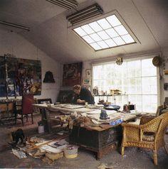 Paton Miller working in Fairfield Porter's former studio in Southampton Village  Photograph © 2012 Jonathan Becker