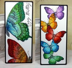 two handmade cards .... tall and thin ... brilliant colors ... one with huge Swallowtail twice in off-the-edge stamping ... the other with a column of butterflies and masked stamping ... brilliant and beautiful!!!
