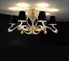 Ode 1647 9-light Ceiling lamp in Silverplated Copper. By Jacco Maris Design.