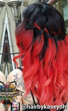 black and red waterfall braided dyed hair