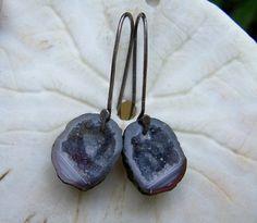 Tabasco Geode Druzy sterling silver oxidized hook by JPGemJewels, $115.00