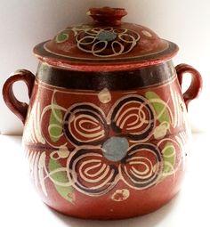 Hand Painted Mexican Bean Pot Folk Art