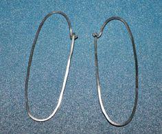 Sterling Silver Hammered Oval Hoop Earrings on by TheBleuGiraffe, $22.00