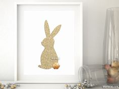 Easter bunny art print in gold glitter effect. Spring and easter home decor.