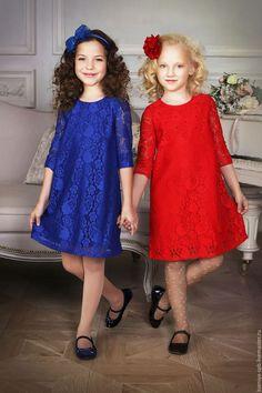 """Купить Платье для девочки """"Кружево"""" (васильковый - 74) - яркое нарядное платье, купить нарядное платье"""