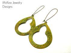 Yellow and green patina Celtic Hoop earrings. Dangle, Moroccan, bohemian, boho jewelry, McKee Jewelry Designs