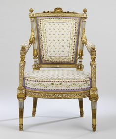 Painted and gilded walnut chair, part of a suite of furniture made for Marie-Antoinette in 1788 by Jean-Baptiste-Claude Sene (1748-1803) and Louis-Francois Chatard (1749-1819), recently restored by the V&A Museum to it's original appearance based on research carried out by the Metropolitan Museum of Art.