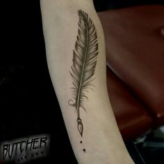 Vintage Tattoo feather art semicolon black and grey needle arm ink