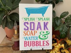 Splish Splash Soak Soap Water and Bubbles/ Colorful Bathroom image 0