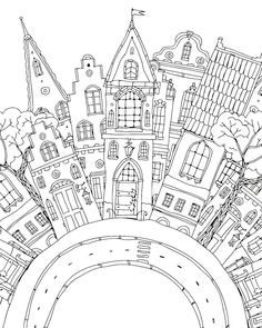 City Drawing, House Drawing, Coloring Book Pages, Coloring Sheets, Doodle Drawings, Doodle Art, House Doodle, Doodles Zentangles, Doodle Patterns