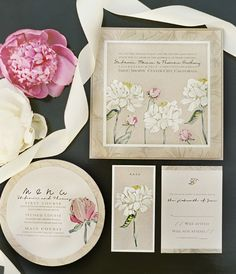 Love this cohesive design... drawing the simple idea throughout all the entire event look.  A Peek into the Studio – Pink Peony Wedding