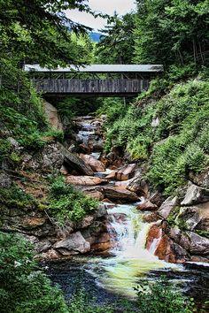 Sentinel Pine Covered Bridge - Flume Trail, Lincoln, New Hampshire