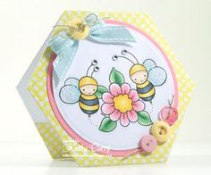 Card designed by Kathy for Whimsy and Stars Studio Digital stamps. Digital Stamp: Spring Bees
