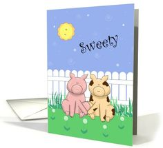 Cartoon Pigs Holding Hands, Sun, Fence, Funny Romantic Flirty card, Paper Greeting Card