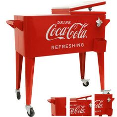 Patio-Cooler-Cart-Party-Drink-Water-Can-Red-Ice-Rolling-Outdoor-Bar-Retro-Steel