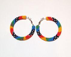 Beaded colorful hoop earrings Beadwork beaded jewelry by lutita