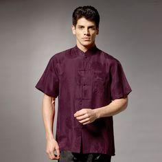 Oriental Style Short Sleeve Silk Blouse - Purple - Chinese Shirts & Blouses - Men