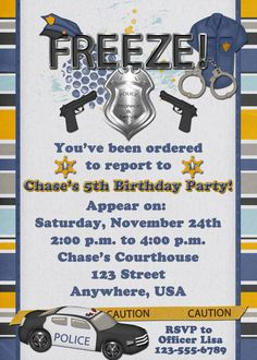 Police Officer Birthday Party Invitation by DecidedlyDigital, $15.00. I wonder if they have they have a firefighter one.