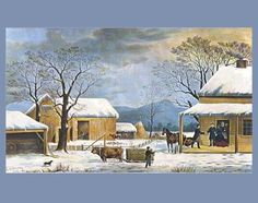 size: Giclee Print: Home To Thanksgiving Art Print by Currier & Ives : Winter Landscape, Landscape Art, Thanksgiving Art, November Thanksgiving, Currier And Ives, Country Art, Primitive Country, Country Homes, Vintage Pictures