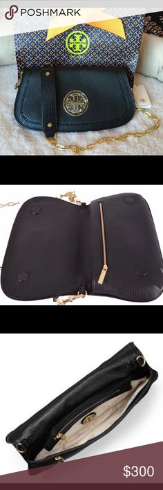 Tory Burch Amanda Logo Leather Chain clutch Made of imported pebbled leather. Approx. 11.5 inches x 8.5 inches. Long strap for shoulder or cross body. Magnetic closure. Fabric lining and Gold tone hardware. Tory Burch Bags Crossbody Bags