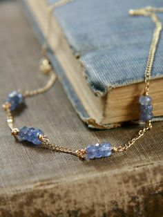 Tanzanite Necklace, 14k Gold Filled Wire Wrapped Chain - Lavender Royal Beauty. $58.00, via Etsy.