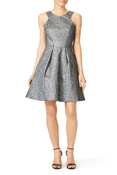 Metallic Gray Fit And Flare Dress