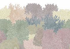 Cool down in this hand-drawn glade in soft colors. Hang this wall mural on two walls to create a cozy corner – or cover all four walls and let the greenery surround you. Architecture Collage, Architecture Drawings, Tree Carving, Photoshop Elements, Illustrations, People Illustration, Soft Colors, Wall Murals, Rebel