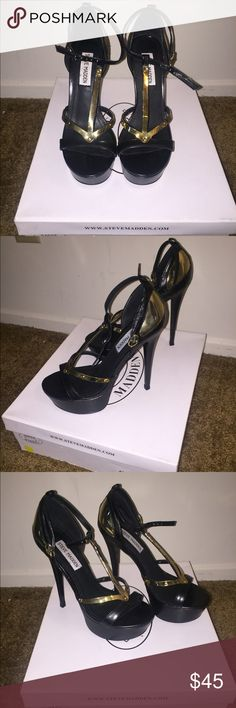 "Steve Madden ""Atention"" Heels Comfortable black platform Steve Madden heel with gold accent hardware. Only worn twice, so they're practically like new. Steve Madden Shoes Heels"