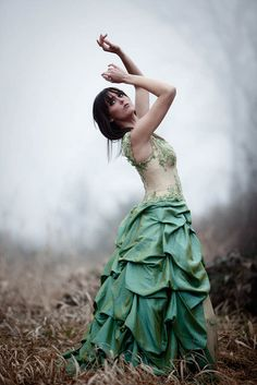 Winter field with jade dress