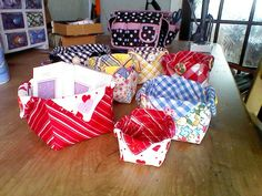 Fabric boxes to hold toiletries for xmas by Patti