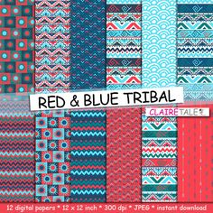 """Tribal digital paper: """"RED & BLUE TRIBAL"""" with tribal patterns and tribal backgrounds, arrows, feathers, leaves, chevrons in blue and red by ClaireTALE on Etsy"""