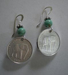 African Elephant Coin Earrings with Stone Bead & Sterling Silver Ear Wires – Jewelery Coin Jewelry, Copper Jewelry, Jewelry Crafts, Jewellery, Custom Jewelry, Handmade Jewelry, Coin Crafts, Diy Earrings, Crochet Earrings