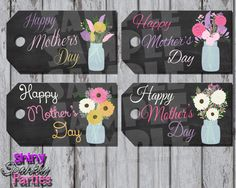 Printable MOTHER'S DAY Gift TAGS - Mothers Day Tags - Mason Jar and Flowers Gift Tags - Mother's Day Tags - Instant Download by ShinySparklyParties on Etsy https://www.etsy.com/listing/229493610/printable-mothers-day-gift-tags-mothers