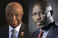 Liberia's Vice President Joseph Boakai (Left) and former international footballer George Weah (right). The two will face off in the runoff. Miss Nigeria, George Weah, Vote Counting, News Around The World, Liberia, Presidential Election, Presidents, Pilot, Face